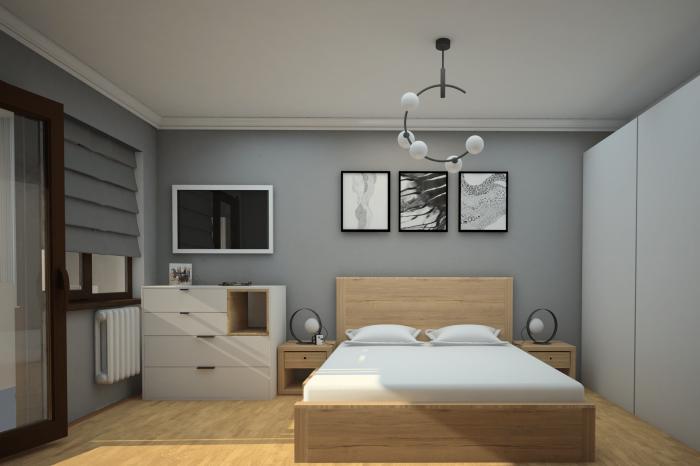 Спалня в сиво и бяло