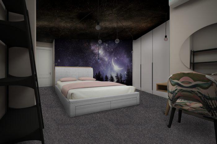Модерна Спалня с лампа spider тапет и звездо небе