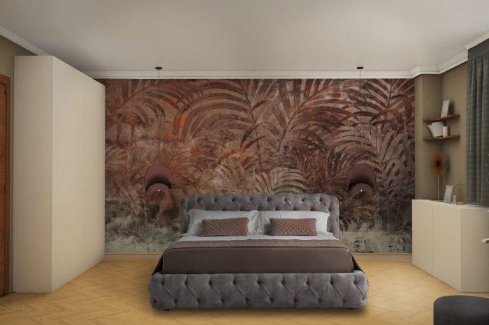 Модерна Спалня с флорален тапет