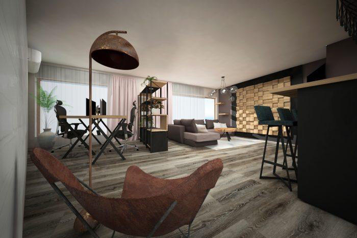 модерен хол с дървено пано