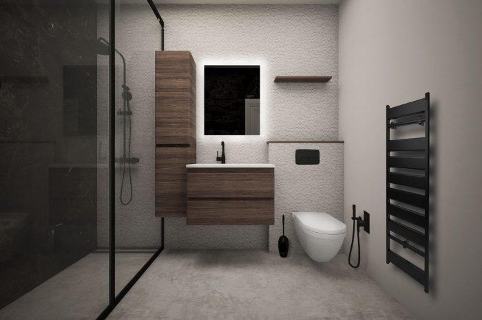 Модерна баня с черни аксесоари и бетонен под