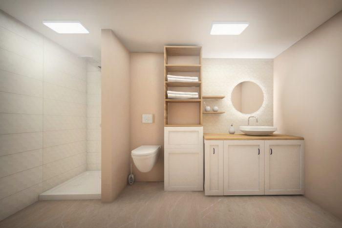 модерна баня с огледало с подсветка